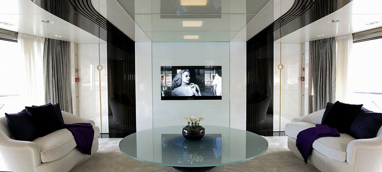 46.0'' Glass TV for commercial application, installed in a marine environment @ Quinta Essentia in Netherlands.